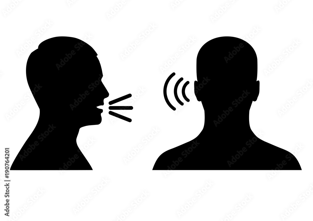 Fototapeta vector illustration of a listen and speak icon, voice or sound symbol, man head profile and back
