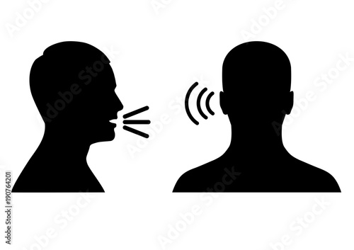 vector illustration of a listen and speak icon, voice or sound symbol, man head Canvas Print