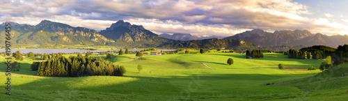 Garden Poster Pale violet Panorama Landschaft im Allgäu bei Füssen mit den Ammergauer Bergen