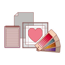 Sheet In Blank And Spiral Notebook And Color Palette Guide And Heart Design In Colorful Silhouette With Thin Red Contour Vector Illustration