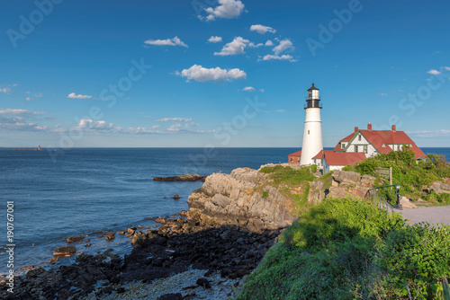 Foto op Aluminium Vuurtoren Portland Head Lighthouse in Cape Elizabeth, Maine, USA. One Of The Most Iconic And Beautiful Lighthouses.