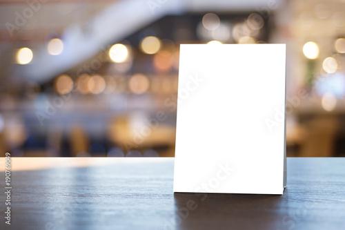 Fotomural Stand  Mock up Menu frame  tent card  blurred background  design key visual layout
