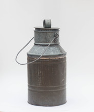 Old Tin Metal Milk Container A...