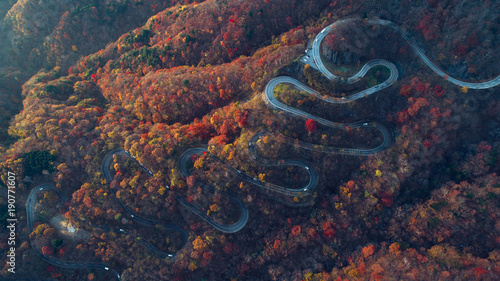 Spoed Foto op Canvas Asia land Beautiful curvy street on the Nikko mountain, Japan. Aerial view