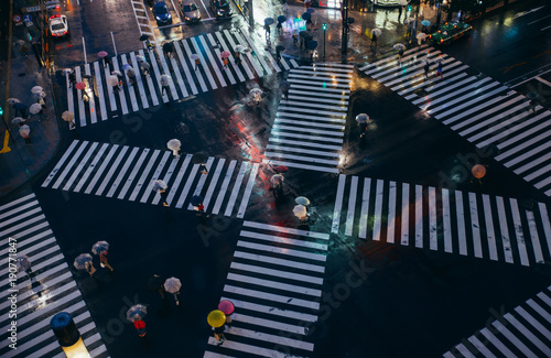 Crossing in Tokyo. Aerial view of people crossing the street