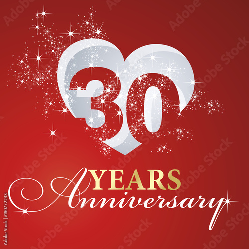 Leinwand Poster  30 years anniversary firework heart red greeting card icon logo