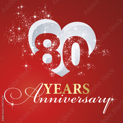 Αφίσα  80 years anniversary firework heart red greeting card icon logo