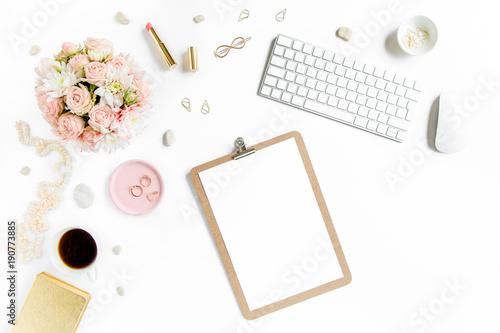 Stylized Women S Desk Office Worke With Laptop Bouquet Roses Clipboard