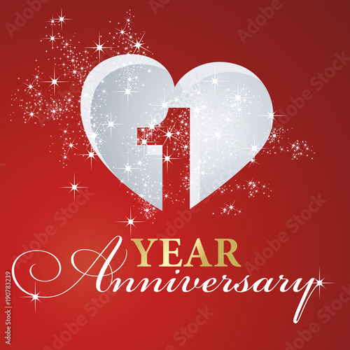 фотография  1 year anniversary firework heart red greeting card icon logo