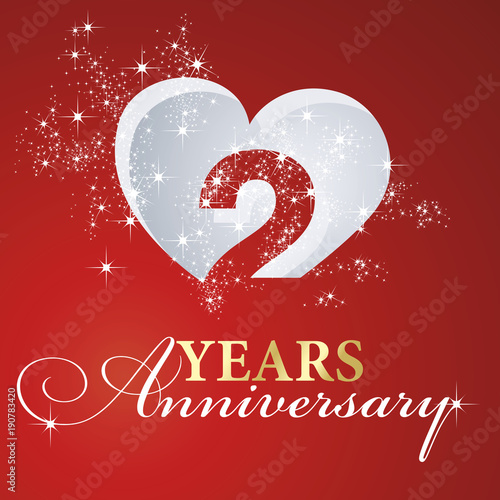 Obraz na plátně  2 years anniversary firework heart red greeting card icon logo
