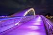 Leinwanddruck Bild - Bernatka footbridge over Vistula river in Krakow at night. Poland. Europe.