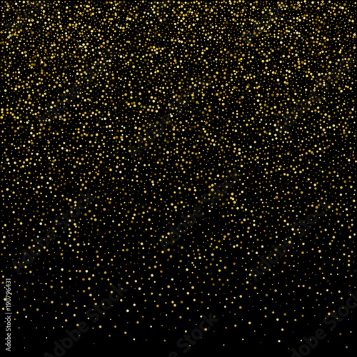 golden glitter sparkle bubbles champagne particles stars on black background happy new year holiday concept