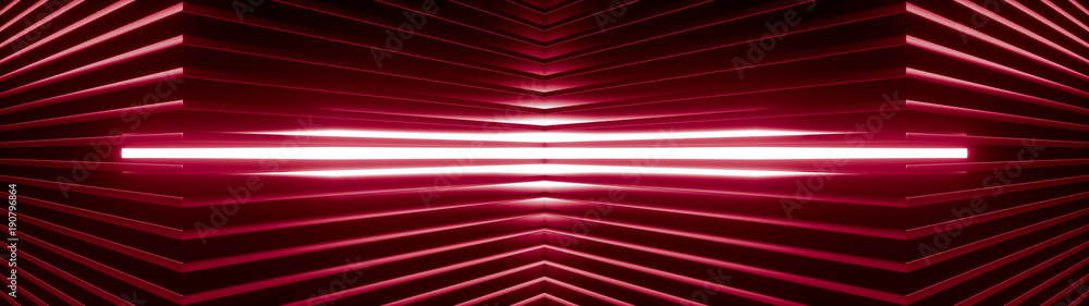 Fototapety, obrazy: Geometric super wide background made of many red metal shelves with glowing light behind. Abstract symmetric industrial structure. 3d rendering