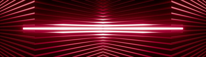 Geometric super wide background made of many red metal shelves with glowing light behind. Abstract symmetric industrial structure. 3d rendering