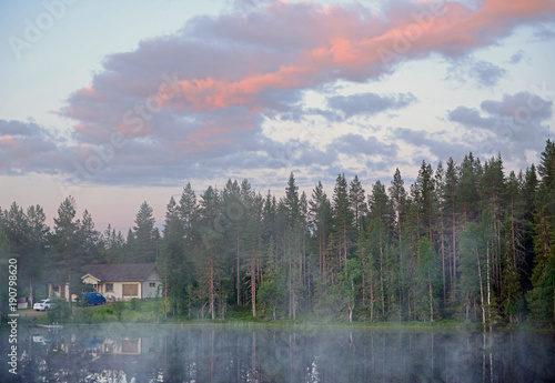 Poster Morning with fog Sunrise of summer northern white night on small lake in forest