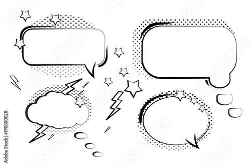 Papiers peints Cartoon draw Set retro comic bubbles. Cartoon of blank template in Pop Art style. Halftone background. Vector