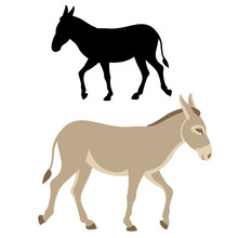 Donkey  Silhouette Vector Illustration Flat Style Profile