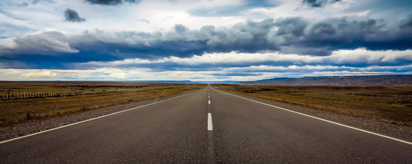 Straight and endless road in Patagonia, Argentina