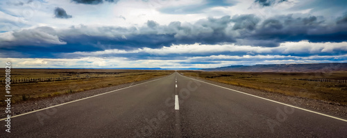 Fotografie, Obraz Straight and endless road in Patagonia, Argentina