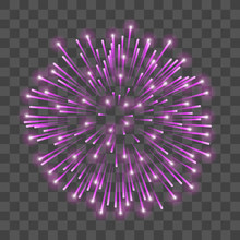 Beautiful Pink Firework. Bright Salute Isolated Transparent Background. Light Decoration Firework For Christmas, New Year Celebration, Holiday, Festival, Birthday Card. Vector Illustration