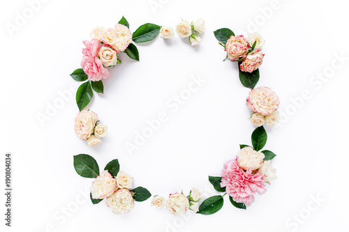 Fotobehang Bloemen Floral round frame wreath made of pink and beige peonies flower buds, eucalyptus branches and leaves isolated on white background. Flat lay, top view. Frame of flowers. Floral background. Valentine's