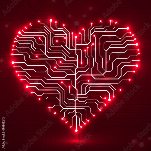 Fotografie, Obraz  Valentine's background with circuit board on heart shape