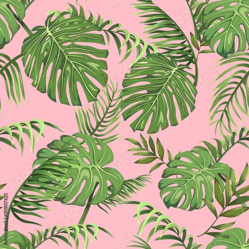 bezszwowy-wzor-z-liscmi-drzewka-palmowe-na-rozowym-tle