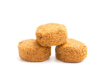 Lushious Battered Crab Cakes Isolated On A White Background