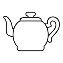 Teapot With Cap Icon. Outline ...