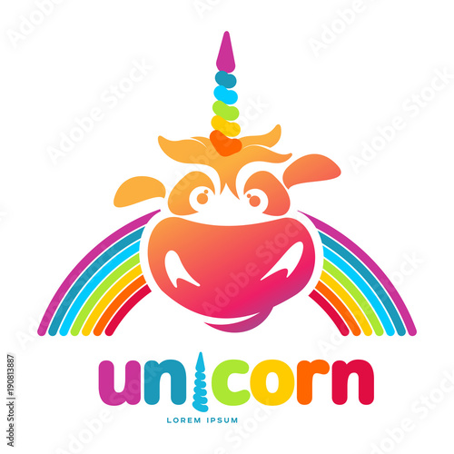 funny unicorn face graphic logo template full color catroon unicorn
