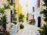 Fototapeta Uliczki - oil painting - Italian street, colorful watercolour