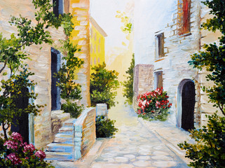 Panel Szklany Popularne oil painting - Italian street, colorful watercolour