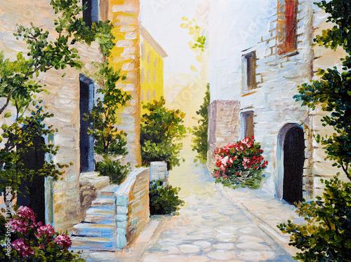 obraz-olejny-wloska-ulica-kolorowa-akwarela