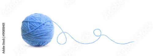 Photo Blue ball of Threads wool yarn