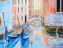 Oil Painting, Gondola In Venic...