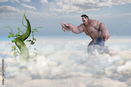 Huge Giant in the clouds reaching towards a beanstalk. Canvas Print