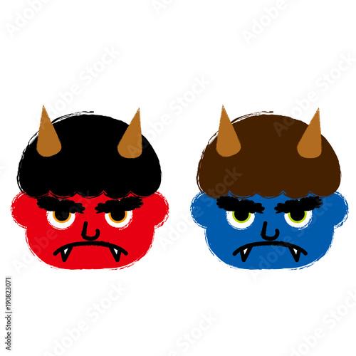 赤鬼と青鬼のイラスト(顔部分・お面)|筆タッチ 節分|ベクターデータ