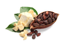 Half Of Ripe Cocoa Pod With Beans And Butter On White Background