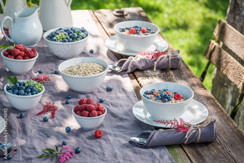 Foto op Aluminium Picknick Tasty granola with raspberries and blueberries in sunny day