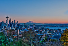 HDR Of Seattle At Sunset From Queen Anne Hill