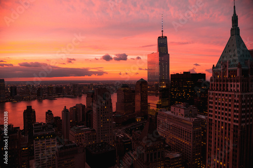 View of modern cityscape at sunset - 190830288