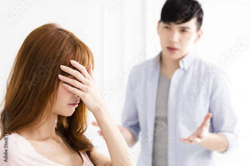 stressed young asian couple quarreling Wallpaper Mural
