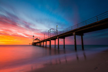 A Vibrant Sunset At Brighton Jetty In Brighton, Adelaide, South Australia, Australia On 1st February 2018