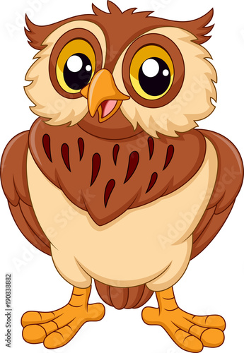 Photo Stands Owls cartoon Cartoon owl isolated on white background