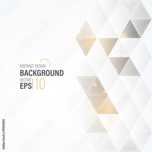 Abstract Modern White Background With Gold Triangle , Wallpaper , Banner, Presentation Background , Vector , Illustration