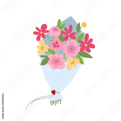 Spring bouquet of flowers. Valentines day, Wedding bouquet flowers, birthday bouquet flowers. Vector illustration in flat design Fototapete