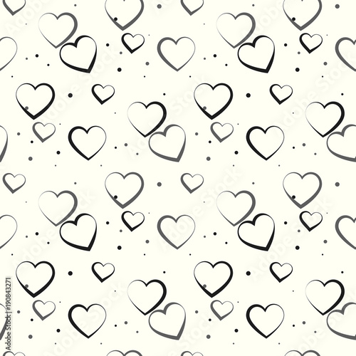 monochrome romantic seamless pattern with polka dot heart symbols of love relationships and valentine day lovely repeatable black and white vector background buy this stock vector and explore similar vectors at adobe polka dot heart symbols of love