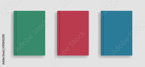 Fotografie, Obraz  Rectangular vector blank colored realistic book cover mockup, closed organizer or notebook cover template with sheet of A4