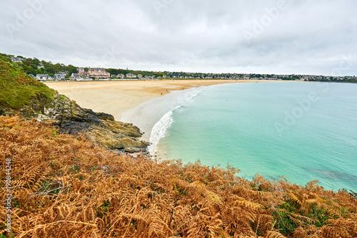 Fotografie, Obraz  Brittany beach called The Big Beach taken from Pointe de la garde, Saint-Cast-le