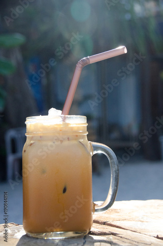 Foto op Aluminium Milkshake Thai ice tea . ice tea with creamy exotic beverage cools and refreshes.famous drink in Thailand call